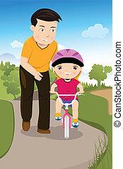 zijn, dochter, vader, fiets helpend, onderwijs
