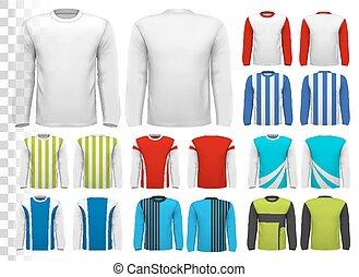 zijn, eigen, hemd, groenteblik, sleeved, lang, template.,...