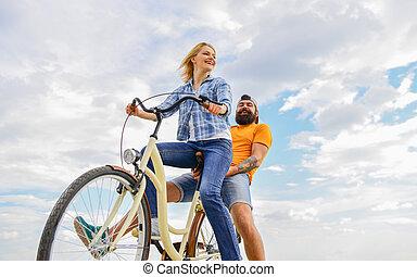 zijn, fiets, psychologie, gezin, relationships., paar, hemel, controles, cycling., achtergrond., haar, laten, bewindvoering, datum, leader., liefde, meisje, stuur, marriage., romantische
