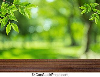 zijn, gebruikt, blad, display, montage, hout, bovenzijde, of, bokeh, achtergrond, producten, groenteblik, tafel, groene, jouw