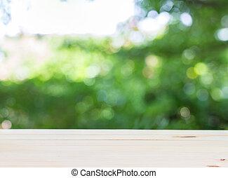 zijn, gebruikt, display, montage, bovenzijde, of, bokeh, hout producten, groenteblik, tafel, groene, abackground, jouw
