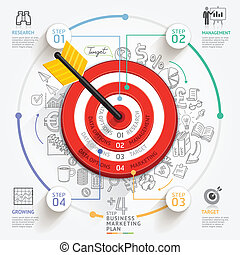zijn, gebruikt, doel, zakelijk, workflow, marketing, concept., opmaak, icons., diagram, web, infographic, groenteblik, richtingwijzer, doodles, ontwerp, template., spandoek