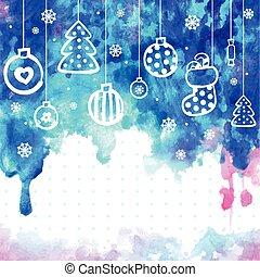 zijn, gebruikt, greeti, watercolor, vector, illustratie, kerstmis, groenteblik
