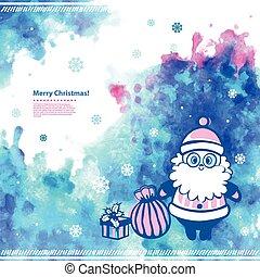 zijn, gebruikt, illustratie, watercolor, vector, groenteblik, kerstman, kerstmis