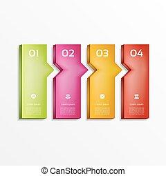 zijn, gebruikt, illustration., diagram, banner., opties, moderne, getal, workflow, opmaak, vector, web, infographics, design., opties, groenteblik