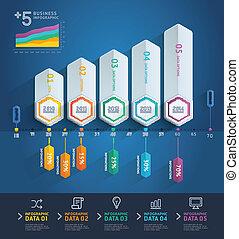 zijn, gebruikt, illustration., diagram, workflow, opties, op, getal, opmaak, vector, web, richtingwijzer, 3d, stap, spandoek, design., infographics., groenteblik