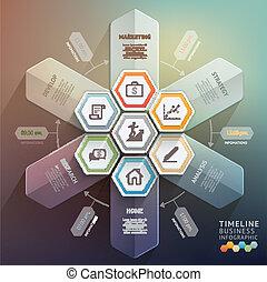 zijn, gebruikt, illustration., diagram, workflow, tijdsverloop, opties, op, getal, opmaak, vector, web, richtingwijzer, 3d, stap, spandoek, design., infographics., groenteblik