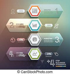 zijn, gebruikt, illustration., trap, workflow, business., opties, getal, op, diagram, web, opmaak, vector, groenteblik, richtingwijzer, stap, 3d, infographics., ontwerp, spandoek