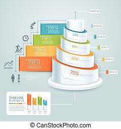 zijn, gebruikt, illustration., trap, workflow, tijdsverloop, opties, getal, op, infographics, opmaak, vector, diagram, web, stap, spandoek, template., zakelijk, ontwerp, groenteblik