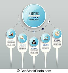 zijn, gebruikt, illustration., zakelijk, workflow, abstract, getal, diagram, web, opmaak, vector, groenteblik, infographics, stap, spandoek, template., opties, opties, design.