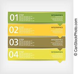 zijn, gebruikt, moderne, ontwerp, groenteblik, infographics, mal