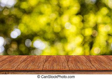 zijn, gebruikt, montage, bovenzijde, of, -, abstract, display, bokeh, hout producten, groenteblik, achtergrond, tafel, jouw