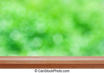 zijn, gebruikt, producten, montage, bovenzijde, of, -, abstract, display, bokeh, hout, groene, groenteblik, achtergrond, tafel, jouw