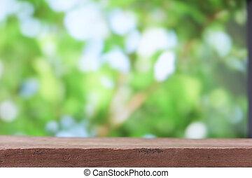 zijn, gebruikt, producten, montage, bovenzijde, of, -, display, hout, groene, groenteblik, achtergrond, tafel, vaag, jouw