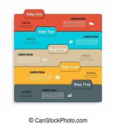 zijn, gebruikt, spandoek, zakelijk, workflow, opties, opmaak, diagram, stap, infographic, web, design., template., groenteblik