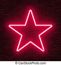 zijn, gebruikt, ster, frame., tekst, teken., neon, gloeiend, groenteblik