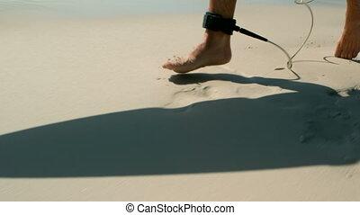zijn, gedeelte, enkel, laag, riem, man, strand, rennende ,...