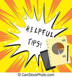 zijn, gegeven, behulpzaam, tekst, het tonen, meldingsbord, advices, tips., foto, conceptueel, life., kennis