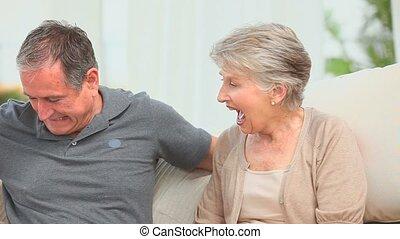 zijn, gepensioneerd, offergave, cadeau, vrouw, man