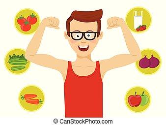 zijn, gezonde , het tonen, jonge, tegen, voedingsmiddelen, spierballen, man, nerd, bril