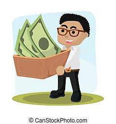 zijn, groot, portemonaie, dragend geld, zakenman