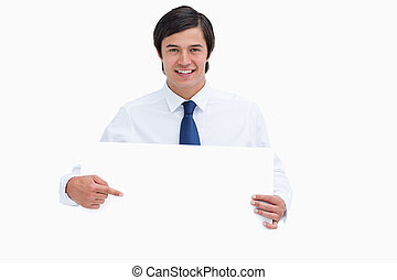 zijn, handen, meldingsbord, neringdoende, het glimlachen, leeg, wijzende, jonge