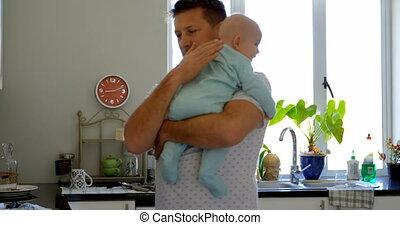 zijn, het troosten, baby, keuken, vader, jongen, 4k