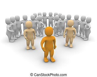 zijn, illustration., team., gereproduceerd, leider, 3d