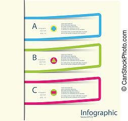 /, zijn, infographics, mal, banieren, genummerde, gebruikt, groenteblik, ontwerp, moderne