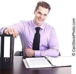 zijn, kantoor, jonge, vrijstaand, zeker, zakenman, witte