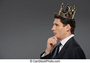 zijn, king., zakelijk, denken, hand, zeker, nadenkend, kin, zakenman, zijaanzicht