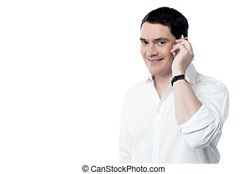 zijn, klesten, mobiele telefoon, man, vrolijke