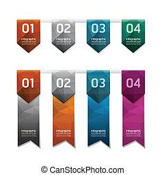 zijn, kleurrijke, banieren, groenteblik, geometrisch, /, moderne, infographics, ontwerp, gebruikt, knoop, genummerde