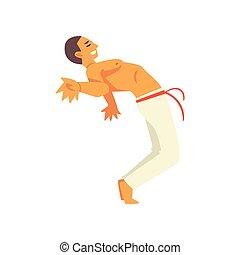 zijn, kunst, danser, het tonen, vaardigheid, karakter, illustratie, krijgshaftig, capoeira, vector, braziliaans, mannelijke , nationale