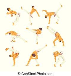 zijn, kunst, set, vaardigheden, het tonen, karakter, illustratie, krijgshaftig, capoeira, vector, braziliaans, mannelijke , nationale, danser