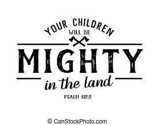 zijn, land, jouw, testament, machtig, kinderen