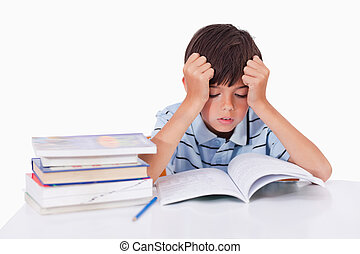 zijn, leren, geconcentreerde, jongen, lessen