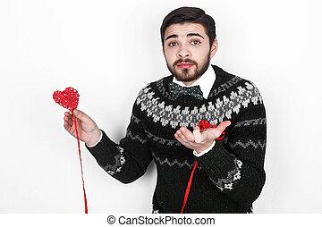 zijn, liefde, romantische, valentijn, het kijken, man