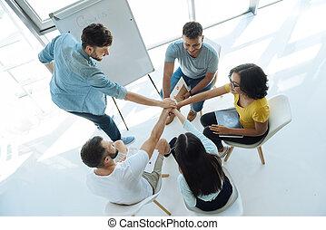 zijn, mensen, verrukt, leren, team, smart