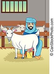 zijn, moslim, illustratie, farmer, milking, geiten, schuur