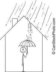 zijn, paraplu, gezin, woning, binnen, dak, water, vector, ...