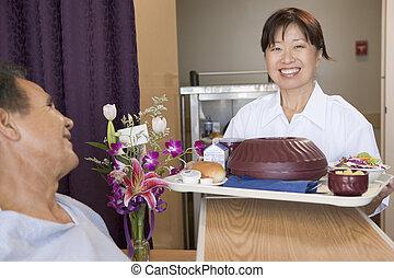 zijn, patiënt, bed, portie, verpleegkundige, maaltijd