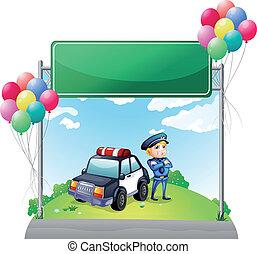 zijn, politieagent, auto, groene, plank, lege