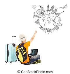 zijn, punt, reizen, globaal, jonge, plan, vrolijke , man
