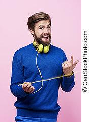 zijn, rond hals, headphones, vrolijk, man