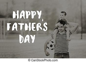 zijn, schouders., vaders, vader, zoon, verdragend, concept., dag