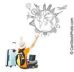 zijn, schouwend, reizen, globaal, jonge, plan, vrolijke , man
