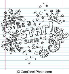zijn, sketchy, vector, ster, doodles