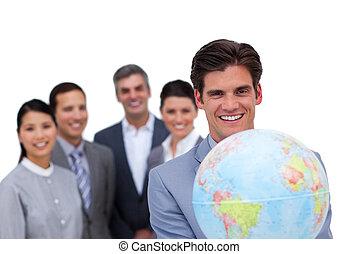 zijn, stoutmoedig, globe, vasthouden, team, voorkant, zakenman