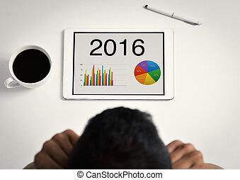 zijn, tablet, diagrammen, 2016, verrichtend, man